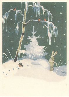woodland bunny in winter by Martta Wendelin Christmas Tale, Christmas Card Crafts, Vintage Christmas Cards, Winter Fairy, Winter Magic, Christmas Illustration, Illustration Art, Rabbit Art, Scandinavian Art