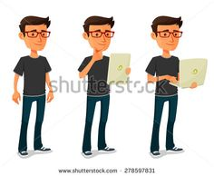 cartoon guy with tablet and notebook