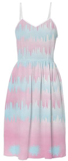 Cool Pastel Pink and Blue Abstract Stripes - A lovely dreamy dress in cool pastel tones of pink and blue. An abstract zigzag stripe and spot print, a very elegant look that will stand the test of time. #fashion #pink-blue #paom