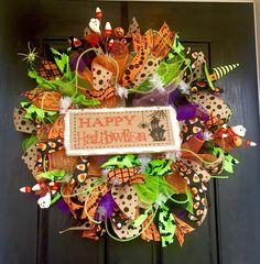 Halloween mesh wreath, Happy Halloween Deco Mesh Wreath, Halloween  deco mesh wreath, Halloween wreath, front door wreath by ShellysChicDesigns on Etsy https://www.etsy.com/listing/240427847/halloween-mesh-wreath-happy-halloween