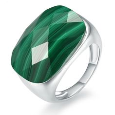 925 Solid Sterling Silver Ring with Real Malachite Stone 2.5 mm Band Size P
