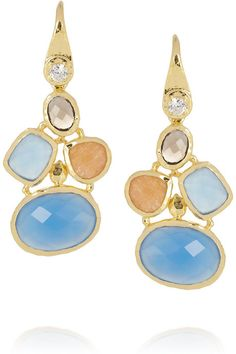Kenneth Jay Lane Gold-plated multi-stone drop earrings