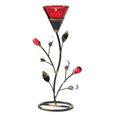 Floral Christmas centerpieces are not only beautiful but a home decor must have for Christmas 2016.  Uniquely beautiful these fabulous floral table centerpieces usher in a Christmas warmth along with a festive ambiance.    Gifts & Decor Ruby Blossom Tealight Candle Holder Stand Centerpiece