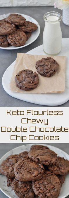 Keto Flourless Chewy Keto Flourless Chewy Double Chocolate Chip Cookies | Peace Love and Low Carb via Peace, Love, and Low Carb