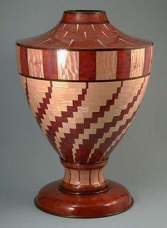 Segmented turned vessel made from Wenge, bloodwood, bubinga, curly maple… Wood Turning Lathe, Wood Turning Projects, Diy Wood Projects, Wood Crafts, Segmented Turning, Wood Vase, Wood Bowls, Got Wood, Lathe Projects