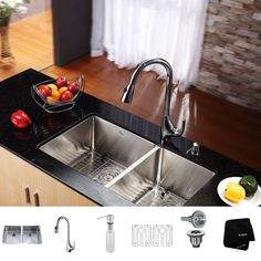 kraus 33 inch undermount double bowl stainless steel kitchen sink with high arch pull downkitchen faucet and soap dispenser stainless steel 33inches - Kitchen Sink Soap Dispenser
