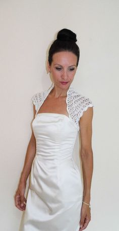 Ivory BRIDAL SHRUG WEDDING bolero lace crochet by HandmadeLaremi, $64.00