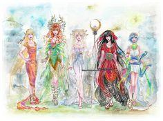 Sailor scouts as various goddesses:  Venus-Siren  Jupiter-Artemis  Moon-Selene (duh.)  Mars-Tengu   Mercury-Hermes