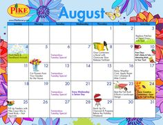 August 2013 Gardening Calendar - Click on Dates with Topics