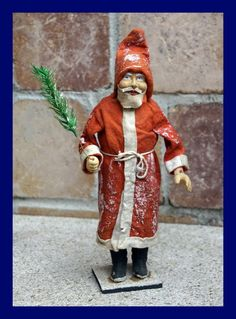 █ Vintage Santa - Belsnickle - Nikolaus - Candy Container, ca. 1910 █ (# 4908) Santa Claus - Candy Container German Belsnickle with red felt coat, papier-mache hands, boots and face, leather beard. early 20th century, around 1910
