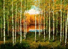 (North Korea) White birch forest by Jeon Young-nam (1965-  )
