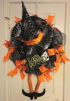 Crazy Legs A Witch Halloween Deco Mesh Wreath Halloween Goodies, Halloween Boo, Halloween Party Decor, Holidays Halloween, Vintage Halloween, Halloween Crafts, Happy Halloween, Halloween Door Wreaths, Halloween Deco Mesh