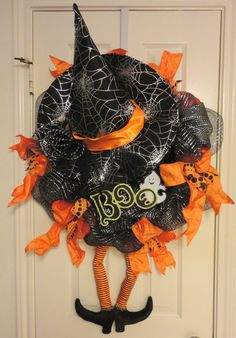 crazy legs a witch halloween deco mesh wreath by ramonareindeer 6500 - Halloween Deco