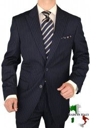 Gino Valentino Peak Lapel Ticket Pocket Suit Made in Italy Wool / Silk Mens Suit 150's Two Button Jacket Flat Front Pants Custom Working Buttonholes Business Suit Navy Chalkstripe