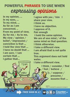Express opinion in english English Writing Skills, Learn English Grammar, English Vocabulary Words, Learn English Words, English Phrases, English Idioms, English Language Learning, Teaching English, English Grammar Rules