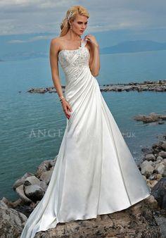 Lace up Satin A line One Shoulder Floor Length Sleeveless Wedding Dress
