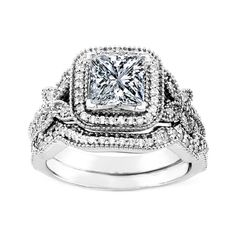 Engagement Ring - Vintage Style Princess Diamond Halo Butterfly... ($1,144) ❤ liked on Polyvore