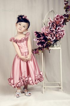 Dresswe.com SUPPLIES Modern A-line Flowers Ankle-length Flower Girl Dress Flower Girl Dresses 2014