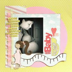 Cricut Scrapbooking Layouts Girl | Baby Bump Scrapbook Page