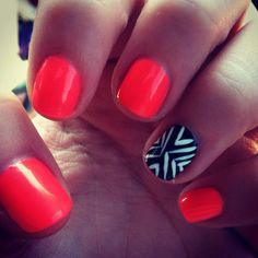 summer  nails, love the peach with black and white!