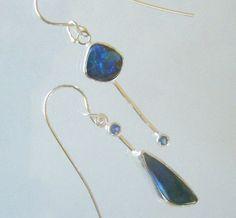 Asymmetrical Dangle Earrings with Boulder by laurastamperdesigns, $170.00