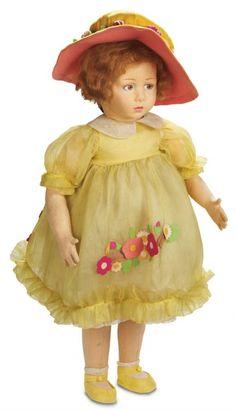 Apples - An Auction of Antique Dolls: 56 Rare Italian Felt Child Doll,Model 950,by Lenci in Vibrant Original Costume