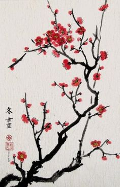 Amazon.com: Cherry Blossoms, Giclee Print of Chinese Brush Painting By Peggy Duke: Home & Kitchen