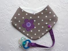 """Halstücher - Halstuch mit Schnullerband, """"taupe-lila """" - ein Designerstück von Lisa-Toews bei DaWanda"""