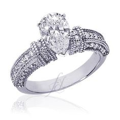 1 Ct Pear Shaped Diamond Engagement Ring Pave Set SI1 COLOR-F EGL CUT:VERY GOOD | All Thing that you may want to know