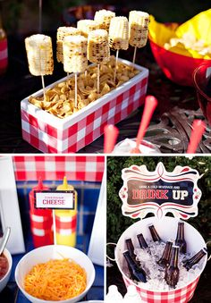 Summer outdoor BBQ ideas. Love the corn on the cobb.This might be a cute engagement party idea