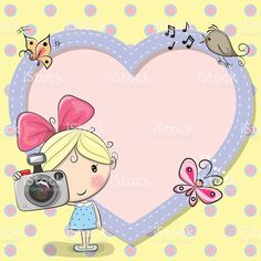 Illustration about Cute cartoon Girl with a camera and a heart frame. Illustration of childbirth, childhood, camera - 73276397 Cartoon Kunst, Cartoon Drawings, Cartoon Art, Cartoon Characters, Cute Couple Cartoon, Cute Cartoon Girl, Cute Animal Drawings Kawaii, Cute Drawings, Camera Cartoon