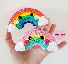 I really like these little kawaii rainbows! Little Rainbow PDF Pattern crochet amigurumi Crochet Amigurumi, Amigurumi Patterns, Crochet Patterns, Half Double Crochet, Single Crochet, Crochet Basics, Crochet Stitches, Cute Crochet, Crochet Hooks