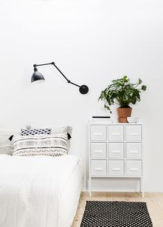 This bedroom has industrial elements (lighting, night stand) but feels cosy and calm // Stylist Susanna Vento for Deko-magazine, photo Pekka Holmström Ikea SPRUTT Home Bedroom, Bedroom Decor, Master Bedroom, Bedroom Lighting, 1980s Bedroom, Bedroom Table, Budget Bedroom, Bedroom Ideas, Home And Deco