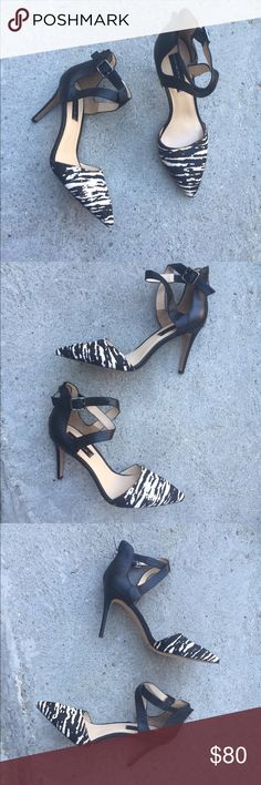 "Steve Madden animal calf hair ankle strap heels Brand new pair of gorgeous Steven by Steve Madden Alicia-p animal print calf hair pointy toe heels with an adjustable ankle strap and back heel zipper for easy on/off access. 3.75"" heel height Steven by Steve Madden Shoes Heels"