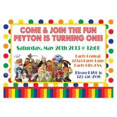 Muppets Birthday Invitation, Primary Colors - Custom Digital File. $9.00, via Etsy.