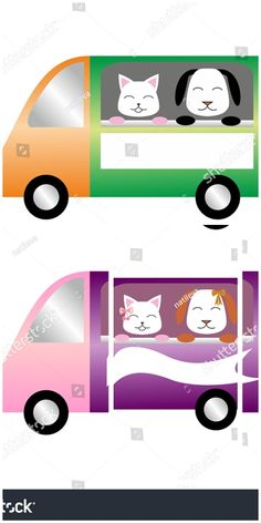 #vector #illustration Colorful #cars with #cat and #dog at the window