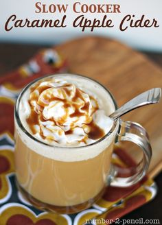 Fill your home with the sweet smell of Slow Cooker Caramel Apple Cider! Top with whipped cream and a drizzle of caramel sauce. #CrockPot #SlowCooker #cider #apple #recipe #fall