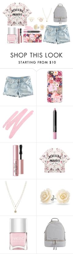 """""""Flower Power"""" by tiffany-blue-tardis ❤ liked on Polyvore featuring H&M, Casetify, NARS Cosmetics, Too Faced Cosmetics, Momewear, LC Lauren Conrad, Bling Jewelry, Nails Inc., MICHAEL Michael Kors and Charlotte Russe"""
