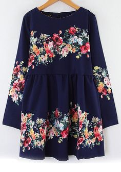 Navy Floral Print Long Sleeve Cotton Blend Dress