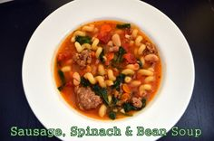 Flavors by Four: Sausage, Spinach & Bean Soup