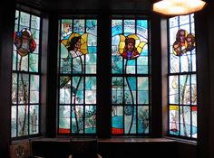 Stained glass uses as a decorative element. It is used to create a comfortable atmosphere and retain privacy.