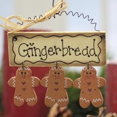 """Primitive Wood """"Gingerbread"""" Cookie Ornament Sign - Christmas Ornaments - Christmas and Winter - Holiday Crafts Gingerbread Decorations, Gingerbread Ornaments, Christmas Gingerbread, Rustic Christmas, Christmas Tree Ornaments, Christmas Decorations, Primitive Christmas, Christmas Christmas, Christmas Projects"""