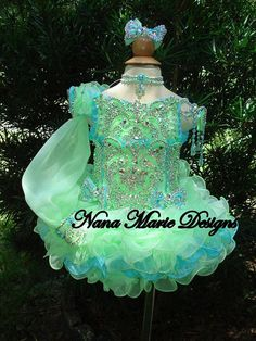 National Glitz Pageant Dress Custom Order by Nana Marie Designs from NanaMarieDesigns on Etsy. Toddler Pageant Dresses, Glitz Pageant Dresses, Pagent Dresses, Little Girl Pageant Dresses, Pageant Wear, Ball Dresses, Girls Dresses, Quince Dresses, Quinceanera Dresses