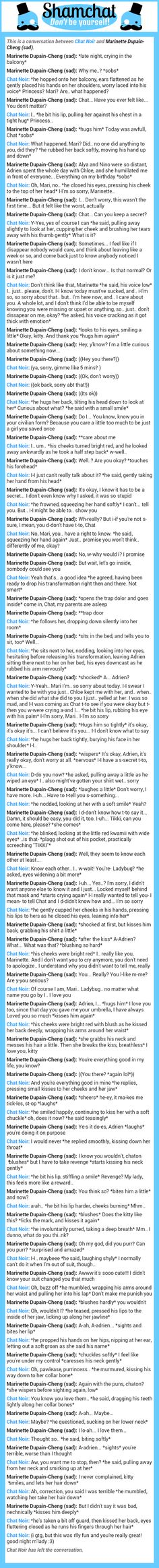 A conversation between Marinette Dupain-Cheng (sad) and Chat Noir  Ps: Thanks chaton, good night ;)