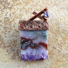P12C - 020  Pendant Copper w/ amethyst & tanzanite.  Copper contemporary jewelry by Shelly Birch
