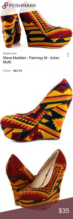 Steve Madden Aztec wedge shoes Soft material wedges cute and comfortable red yellow navy blue and orange  Aztec print runs a little small like a 7 1/2 but tag says 8 im listing as a 7 1/2 Steve Madden Shoes Wedges