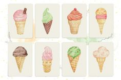 Illustrated Ice Cream Notecard Set by Happiness is... on hellopretty.co.za