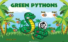Green Pythons B52817  digitally printed vinyl soccer sports team banner. Made in the USA and shipped fast by BannersUSA.  You can easily create a similar banner using our Live Designer where you can manipulate ALL of the elements of ANY template.  You can change colors, add/change/remove text and graphics and resize the elements of your design, making it completely your own creation.