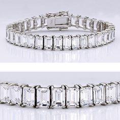 Glamorous cubic zirconia bracelet features 0.75 carat each emerald cut prong set in 14k white gold. An approximate 28.80 total carat weight, measures under 8mm wide. This high quality cubic zirconia bracelet is 7 inches long, also available in different lengths and in 14k yellow gold via special order. Cubic zirconia weights refer to equivalent diamond carat size.