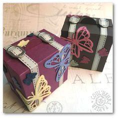 "Coul'Heure Papier: ""Valise à Bijoux"" [Tutoriel] Crafts To Do, Paper Crafts, Diy Crafts, Mini Scrapbook Albums, Mini Albums, Craft Box, Small Boxes, Folded Cards, Card Templates"